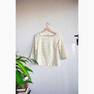 UO pin & needles boho lace floral creme top